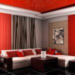шторы на шторной ленте красно черные