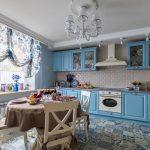шторы для кухни голубые