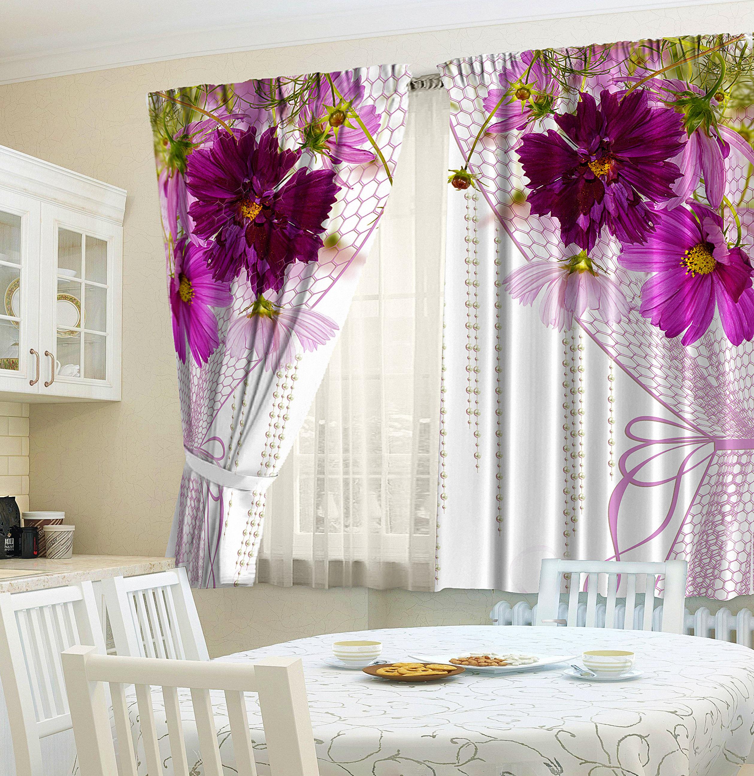 кухонные шторы с цветами