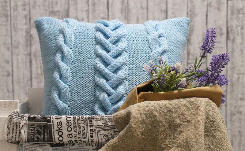 подушка вязаная фото декора