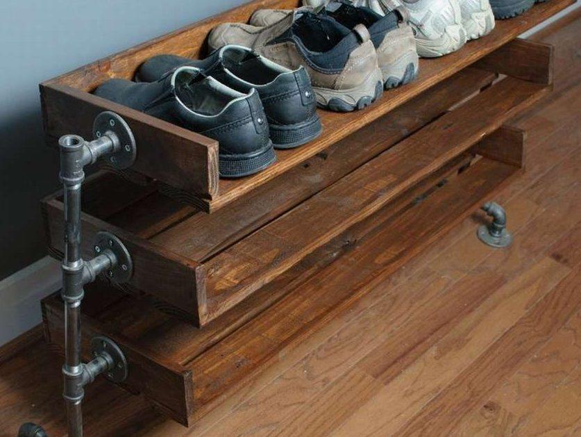 полка для обуви из паллет