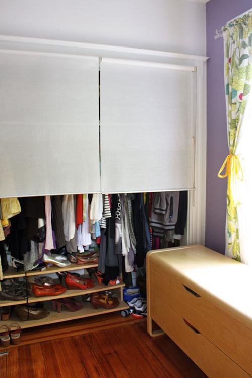 рулонные шторы вместо двери на шкаф