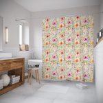 текстильные шторы для ванной оформление