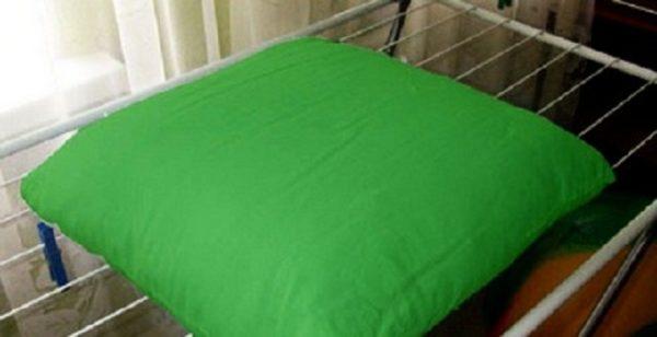 как высушить подушку
