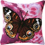вышивка подушек крестиком бабочка