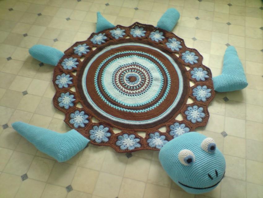 вязаные коврики крючком черепаха