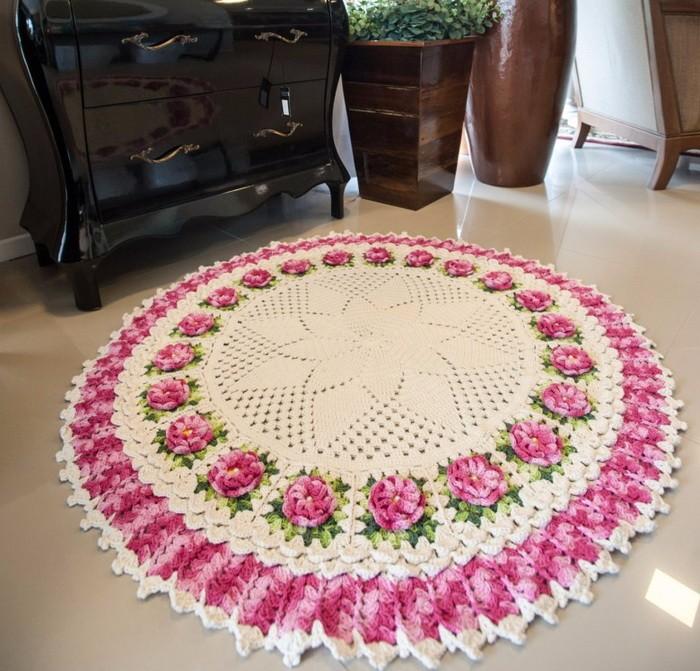 вязаные коврики крючком круглые дизайн