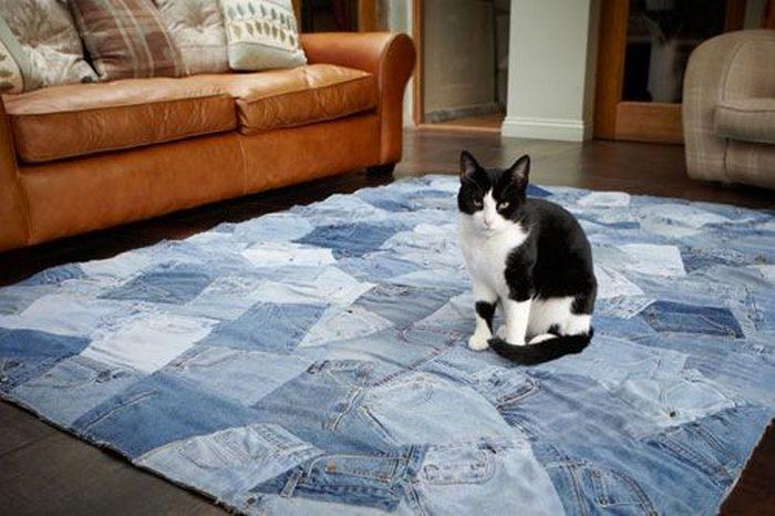 джинсовый коврик и котик