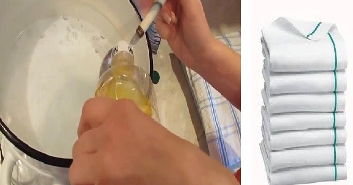 как эффективно отбелить кухонные полотенца шампунем