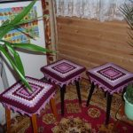 вязаные чехлы на стулья и табуреты идеи оформление