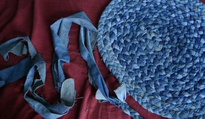 коврик из старых джинсов идеи декора