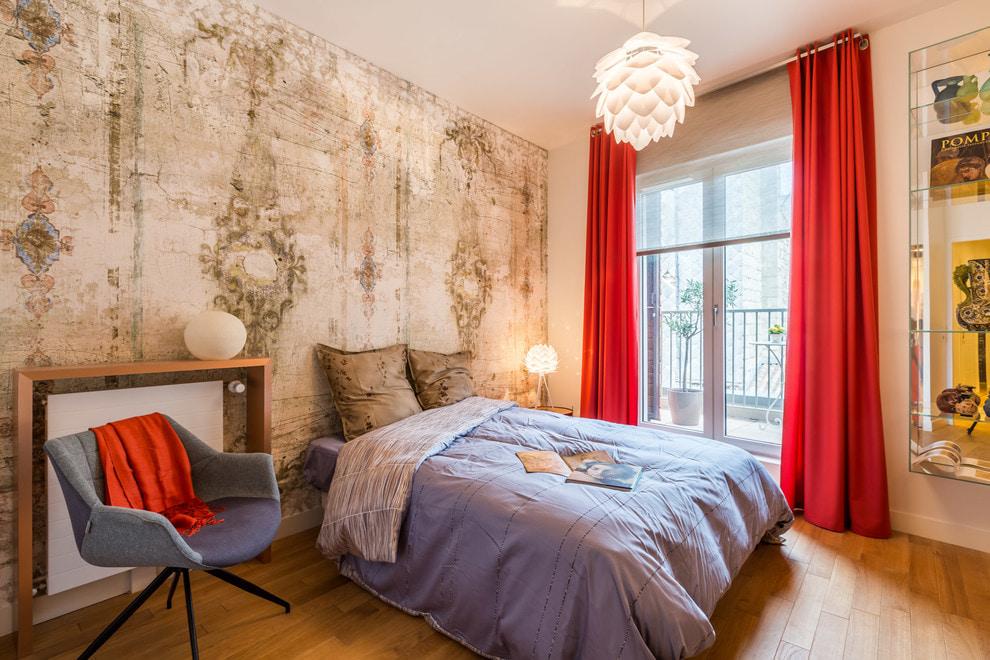 красные шторы дизайн фото