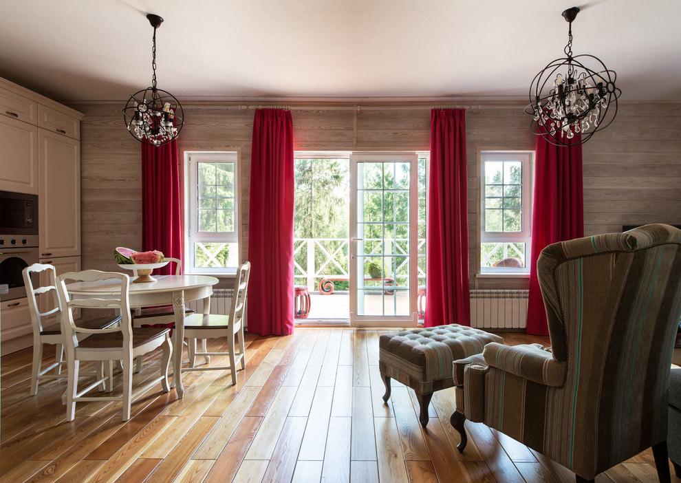 красные шторы идеи декор