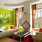 оранжевые шторы интерьер идеи