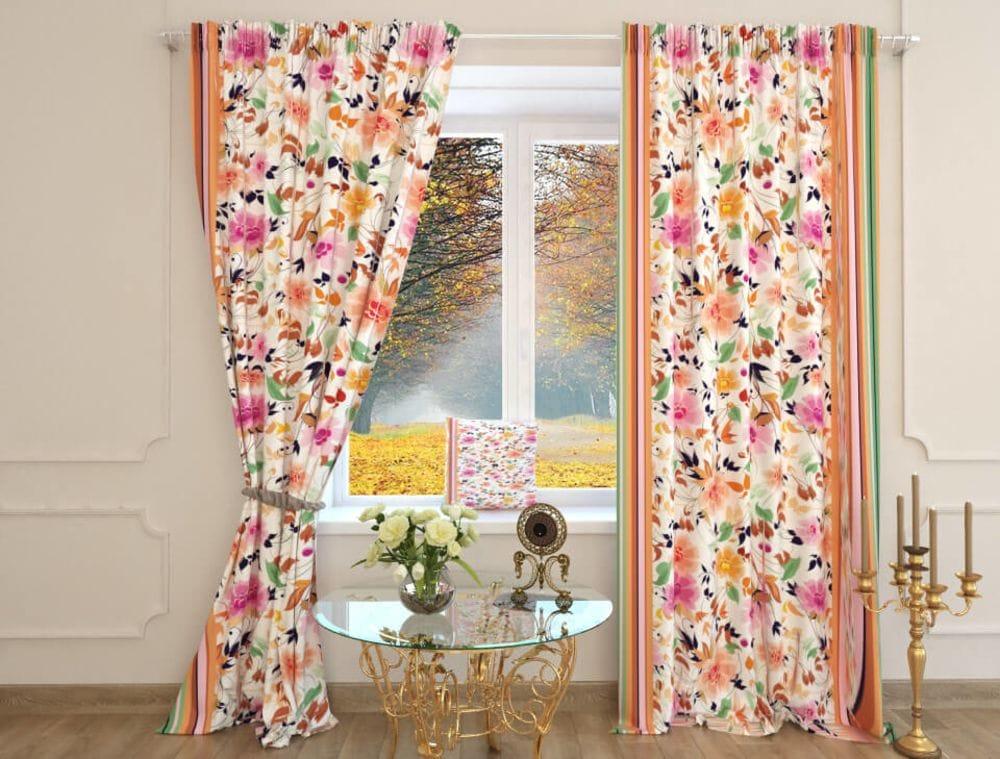 радужные шторы с цветами