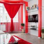 красные шторы фото дизайна