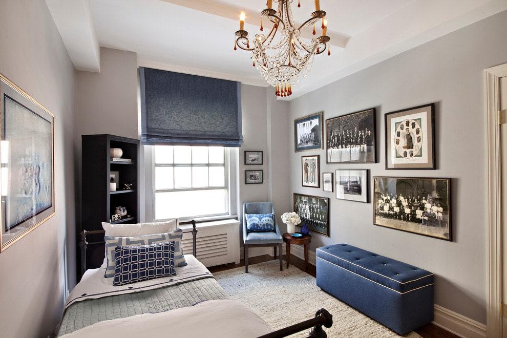 синие шторы декор идеи