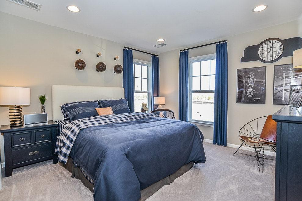 синие шторы дизайн фото