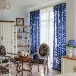 синие шторы фото декора