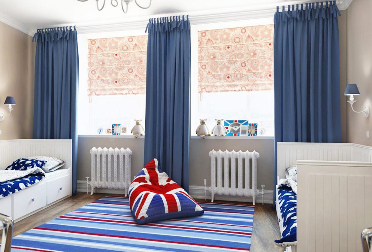 шторы в детскую синие