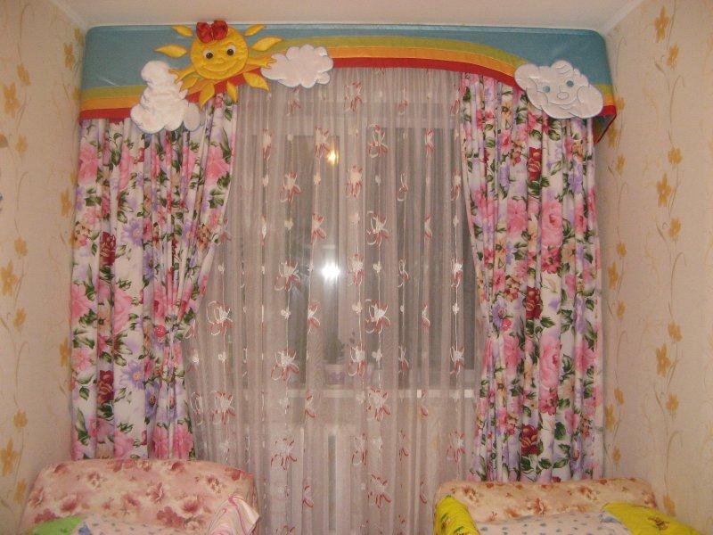 шторы в детскую комнату с цветами