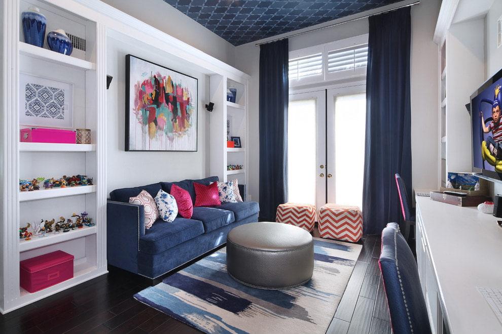 синие шторы фото интерьер