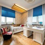 синие шторы идеи интерьера