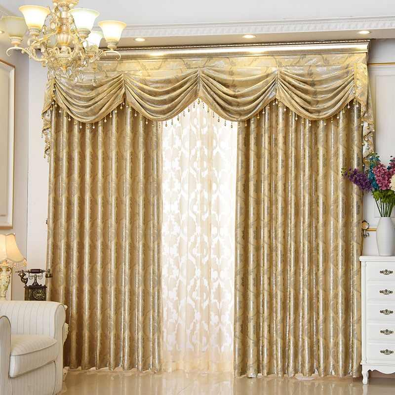 золотые шторы с тюлем