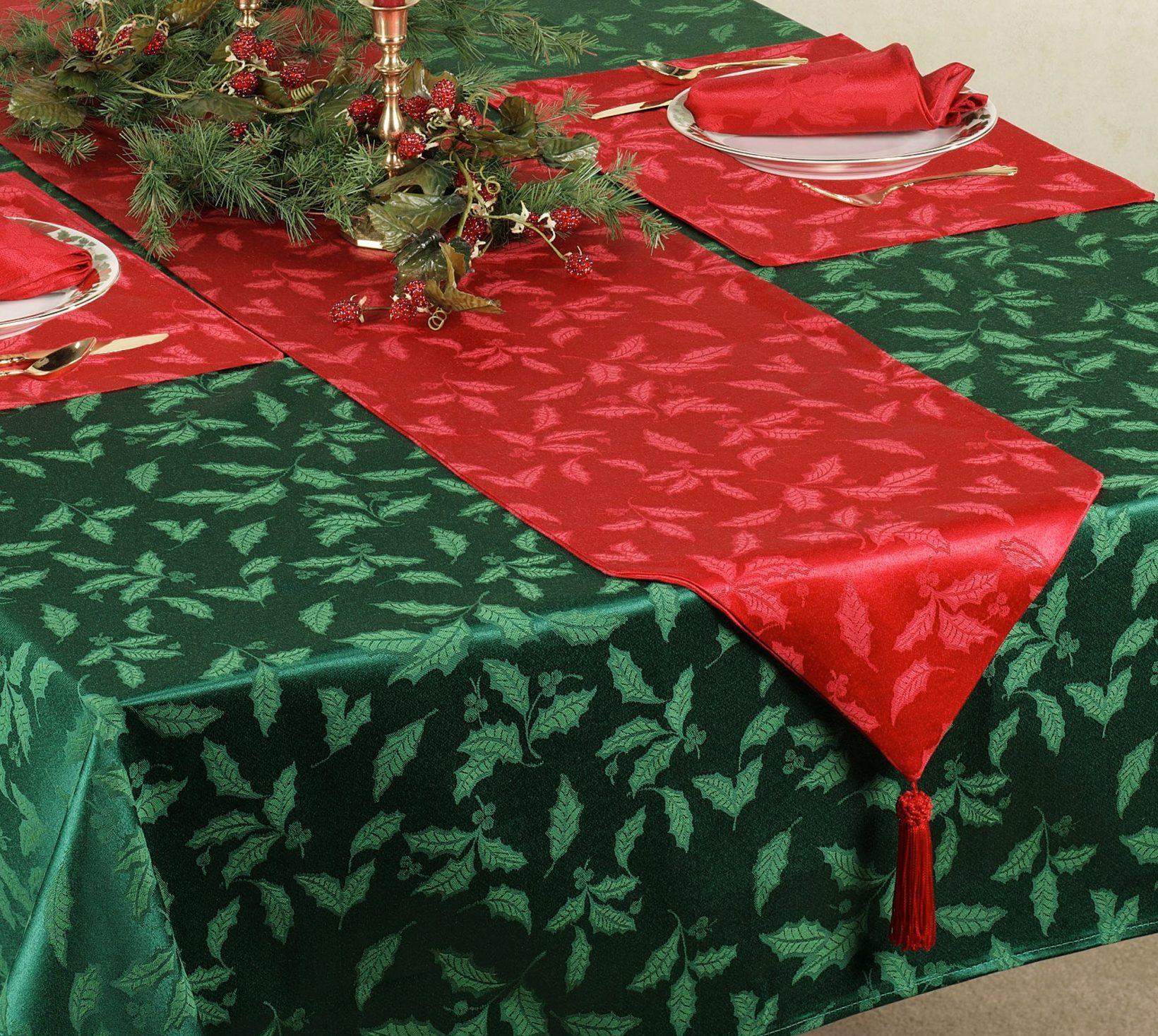 скатерть на новогодний стол зеленая