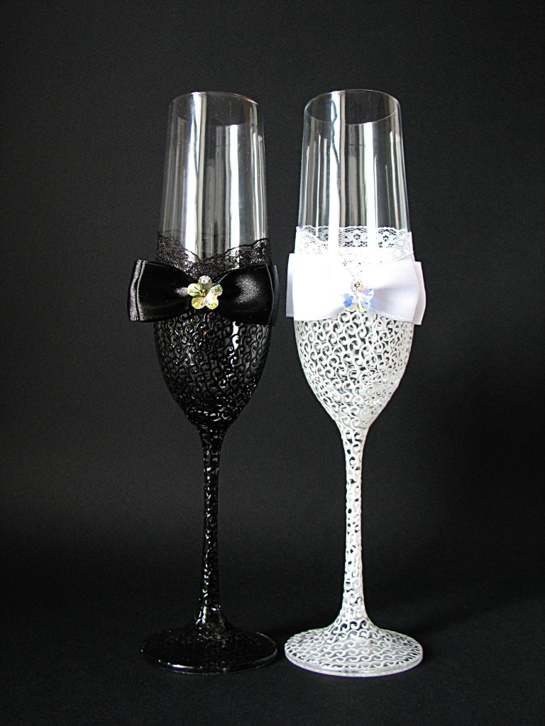 декор бокалов для жениха и невесты