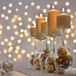 декор бокалов шариками на новый год