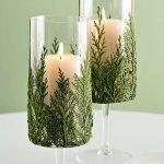 декор бокалов на новый год еловыми ветками