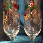 декор бокалов на новый год оформление фото