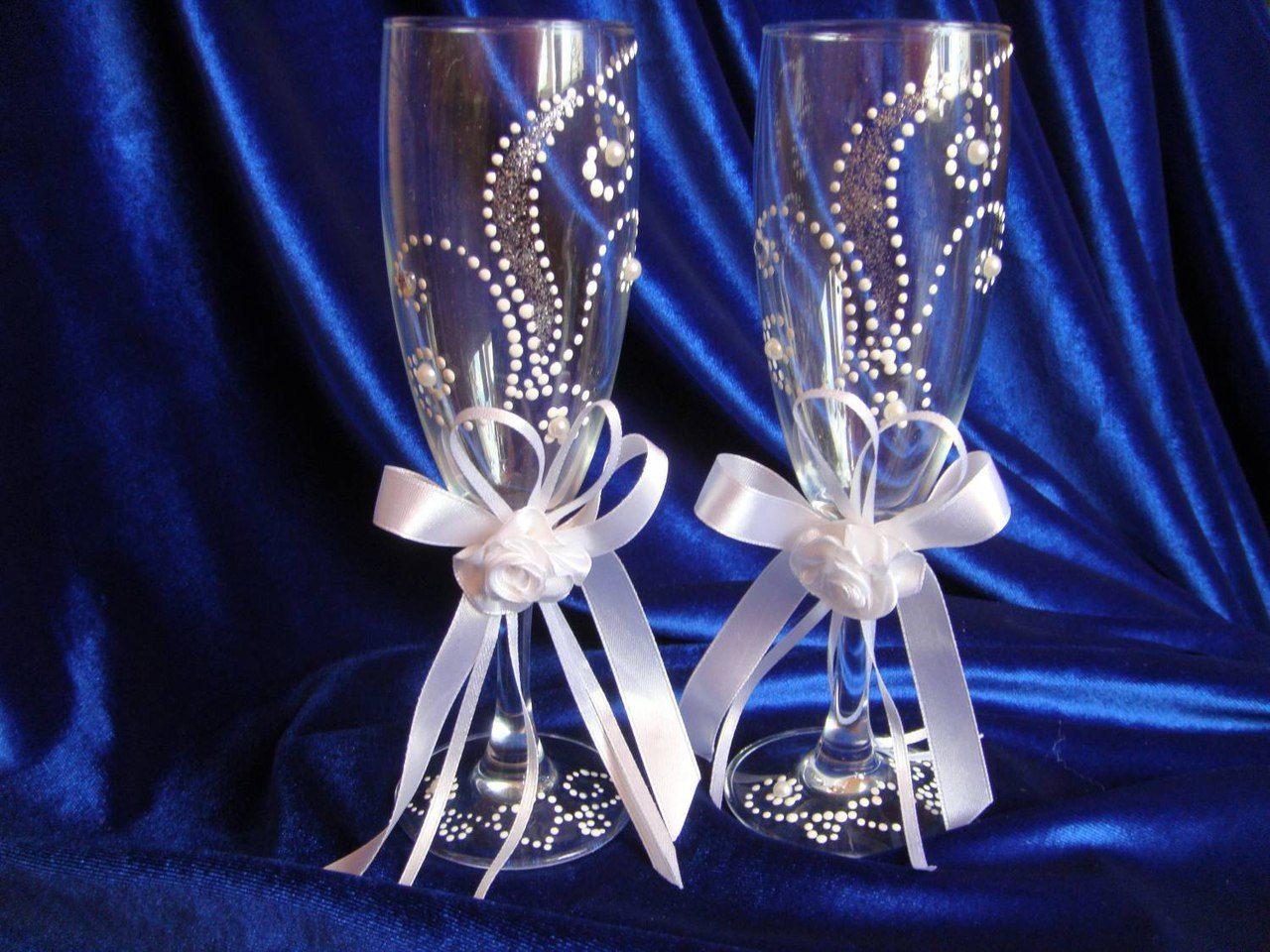 декор бокалов на свадьбу