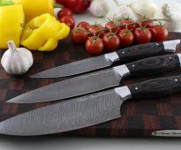 набор дамасских ножей