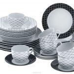 набор столовых тарелок для кухни фото оформление