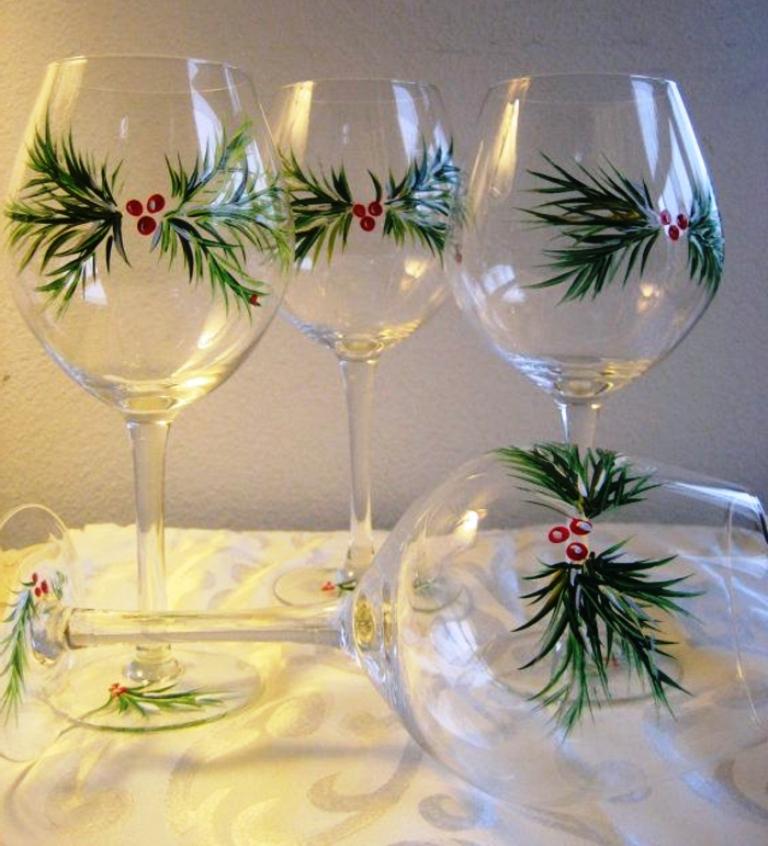 новогодняя роспись бокалов