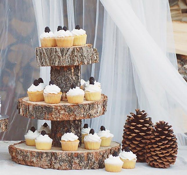 подставки под торт из спила дерева