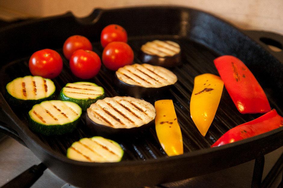 сковорода гриль овощи