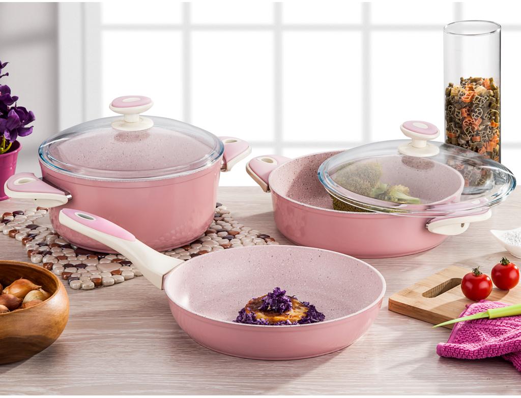 розовая мраморная сковорода