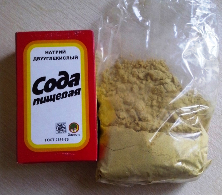чистка сковороды содой и горчицей
