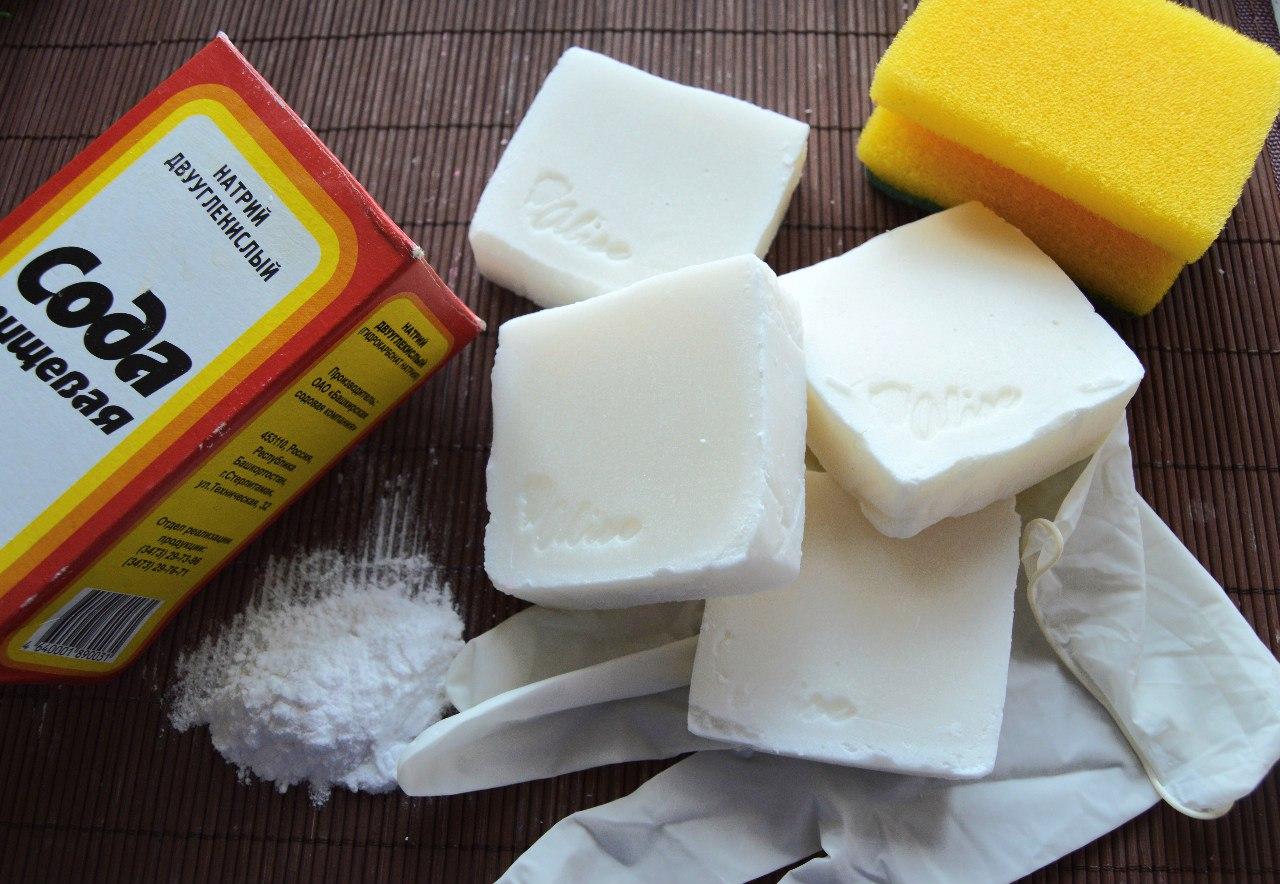 сода и хозяйственное мыло для чистки сковородок и кастрюль