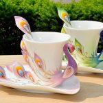 чашки павлины