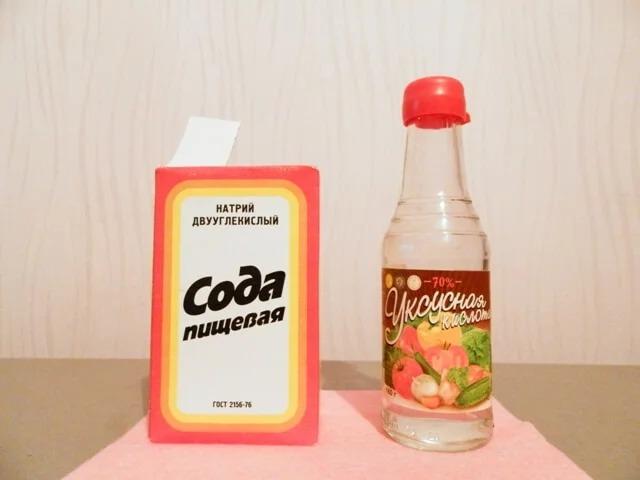 чистка сковороды содой и уксусом