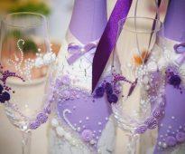 свадебный декор бокалов своими руками
