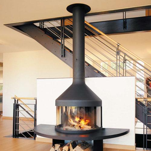 Дымоход камина через потолок