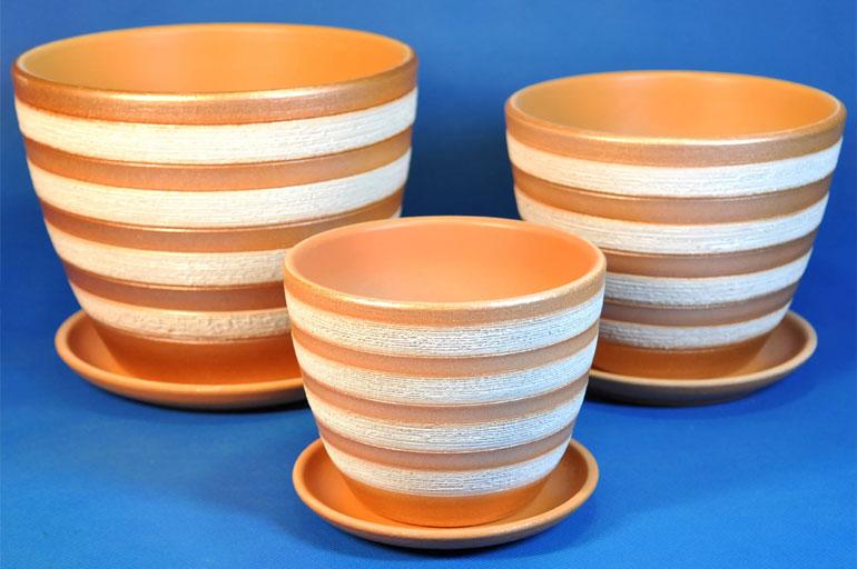 Горшки для цветов из неглазурованной керамики