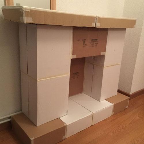 Изготовление фальш-камина из картонных коробок