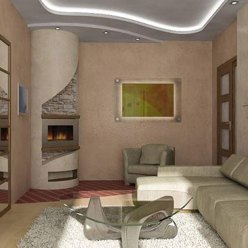 Угловой камин в интерьере маленькой гостиной