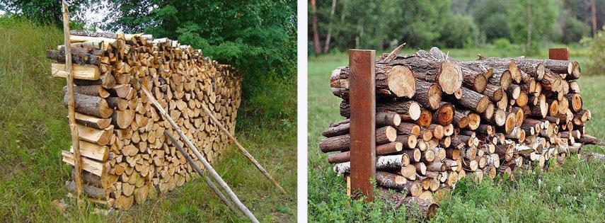 Укладка дров с упорами из кольев